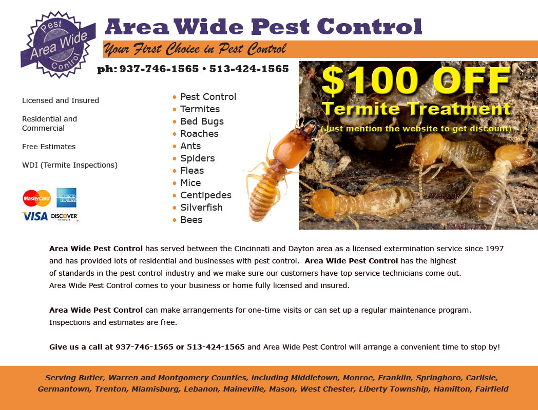 Pest control including termites between Dayton and Cincinnati, Ohio